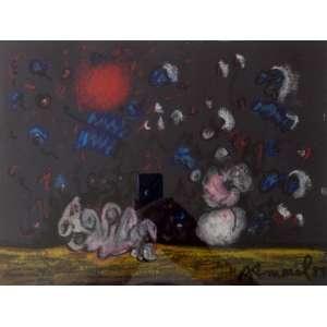 Antonio Henrique Amaral<br>Composição Surrealista - 1984.<br>Técnica mista sobre papel