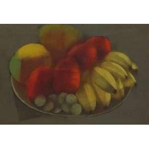 Carlos Scliar<br>Naturesa morta com bananas, uvas, tomates, etc.<br>Vinil e colagem encerado sobre tela - 1982 - 26 x 37 - Assinado e datado 1982 inferior direito - Assinado e datado