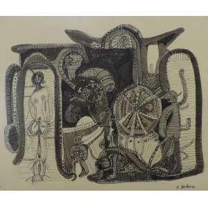 Rubens Gerchman<br>Sem título<br>Nanquim sobre papel - déc. 60 - 45 x 55 - Assinado inferior direito - s/ano