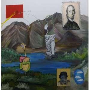 Fernando Brum<br>Espirito do tempo<br>Oleo sobre tela - 2016 - 150 x 150 - assinado e datado