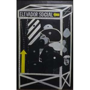 Rubens Gerchman<br>Elevador Social<br>Acrílica sobre madeira - 1964 - 79 x 51 - Assinado e datado 1964 inferior direito