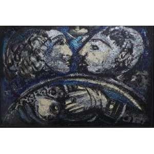 Rubens Gerchman<br>Beijo no Carro<br>Acrílica sobre tela - 2000 - 50 x 75 - Assinado inferior direito - Assinado e datado 2000