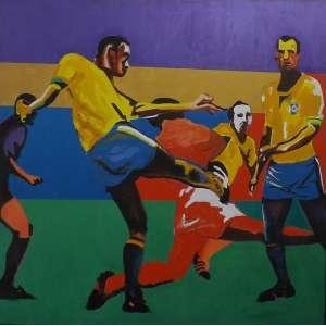 Rubens Gerchman<br>Copa 70 - Carlos Alberto - O Capitão<br>Acrílica sobre tela - Déc 90 - 130 X 200 - Assinado - Esta obra participou da Retrospectiva do Artista no Grande Palais de Paris, durante festividades da Copa do Mundo na França, em 1998.