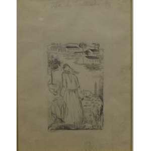 Tarsila do Amaral<br>A Vila de Anchieta<br>Desenho a caneta - 1948 - 25 x 20 - Assinado e Datado