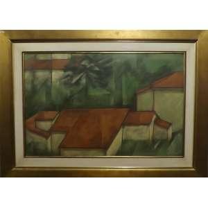 Carlos Scliar<br>Telhados de Ouro Preto<br>Vinil e colagem encerado sobre tela - 1992 - 65 x 100 - Assinado e Datado