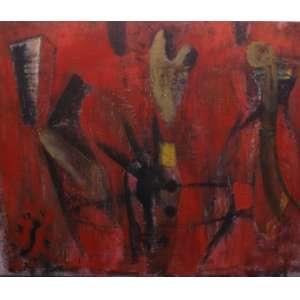 Daniel Senise<br>Abstrato vermelho<br>Oleo sobre tela - 1987 - 160 x 192 - Assinado e datado