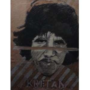 Rubens Gerchman<br>Kretan<br>Crayon sobre papel colado em madeira - 1982 - 65 x 50 - Assinado e datado 1982 inferior direito