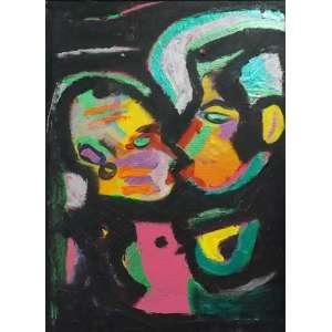 Rubens Gerchman<br>Beijo<br>Acrílica sobre tela - déc. 80 - 33 x 24 - Assinado
