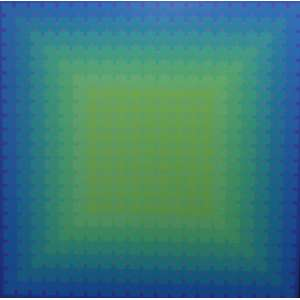 Julian Stanczak (Polonês)<br>Lumina Offering Green<br>Acrílica sobre tela - 1991 - 176 x 176 - assinado e datado - Carimbo de Certificado nos Chassis. Obra que participou de várias retrospectivas do artista em museus americanos