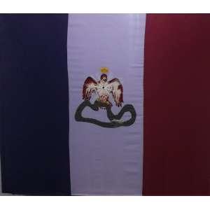 Marcos Castro<br>Bandera e Humo - Mexicano<br>Tecido bordado - 2011 - 125 x 147