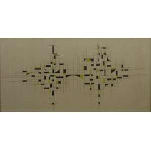 Mário Silésio<br>Composição Construtiva<br>Técnica Mista sobre Papel - 1957 - 50 x 100 - Assinado e Datado