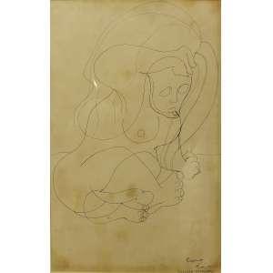Artur Barrio<br>Mulher esperando<br>Desenho sobre papel - 1968 - 45 x 29 - Assinada e datada Rio, 5/5/68 inferior direito - com mofo