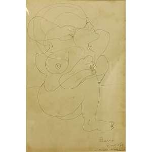Artur Barrio<br>Mulher sentada conversando<br>Desenho sobre papel - 1968 - 43 x 28,5 - Assinada e datada Rio, 5/5/68 inferior direito - com mofo