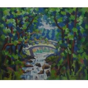 Inimá de Paula<br>A pequena Ponte Caldas Novas - GO<br>Óleo sobre Tela - 1978 - 55 x 65 - Assinado