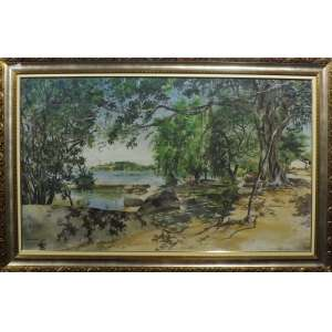 George Wambach<br>Ilha de Paquetá RJ<br>Oleo sobre tela - 1944 - 90 x 140 - Assinado e Datado