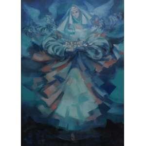 Enrico Bianco<br>Madona em Azul<br>Óleo sobre Tela - 2008 - 50 x 70 - Assinado