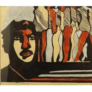 Rubens Gerchman<br>Miss<br>Óleo sobre papel - 1967 - 17 x 20 - Assinado e datado 1967 inferior esquerdo