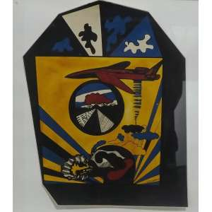 Rubens Gerchman<br>Da Serie Casa de Morar<br>nanquim e ecoline sobre papel - 1968 - 31 x 24- Assinado e datado 1968 inferior direito - adisivo com descriçao