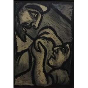 Raimundo de Oliveira<br>Jesus e Veronica<br>gouache sobre papel - 1959 - 70 x 50 - assinado e datado frente inf esquerdo