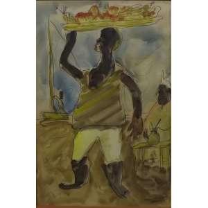 Carlos Paes Badaró<br>Bahia005<br>Gouache sobre papel - 1945 - 43 x 33 - assinado e datado