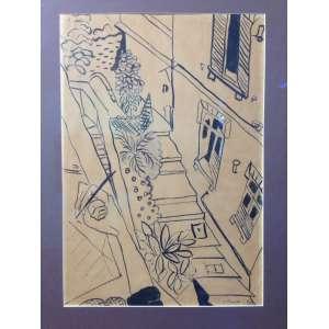 Lygia Clark, Escada, 1948, nanquim sobre papel, 46 x 32, com certificado do Mundo de Lygia Clark, assinado e datado canto inferior direito