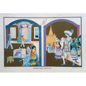 Glauco Rodrigues - Período Joanino (1808-1821) Litogravura em cores impressa sobre papel com Edição 51/200 - Medidas 35 x 50 cm - 1979
