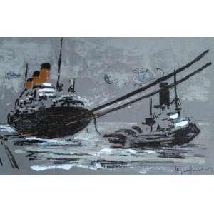 Paul Garfunkel - O Adeus ao Massília - Rara Litogravura aquarelada à mão editada em 1958 - Medidas 23,2 x 15,3 cm - Assinada no cid