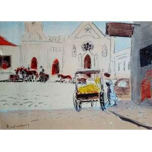 Paul Garfunkel - O Bebedouro Curitiba - Rara Litogravura original em cores editada em papel Superwhite em 1958 - Medidas 21 x 28 cm - Assinada no cid