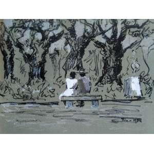 Paul Garfunkel - Os Namorados da Praça da República - Litogravura original aquarelada à mão, editada em papel Superwhite em 1954 - Medidas 32 x 23 cm - Assinada no cid