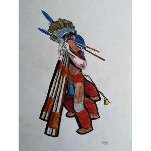 Poty Lazzarotto - Série indígenas - Desenho a nanquim - Medidas 75 x 55 cm - assinado no cid - 1990