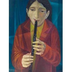 HARRY ELSAS - Flautista - óleo sobre tela - Medidas: 80 x 60 cm - Assinatura: canto inferior esquerdo - 1980<br />
