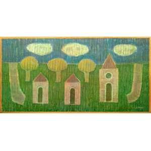 Mario Rubinski - Acrílica sobre madeira industrializada - Medidas 38 x 76 cm - assinado