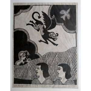 Gilvan Samico - A Queda do Anjo - Rara Xilogravura impressa em papel japonês - Edição 81/110 - Medidas 33 x 26 cm - Assinada e datada de 1965