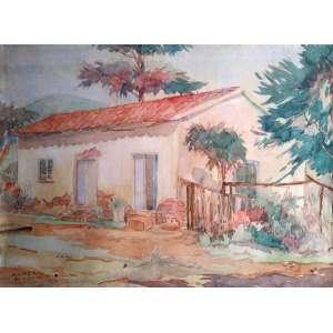 Alberto Lima - Aquarela sobre papel - No verso a inscrição: Medalha de Bronze no Salão Nacional de Belas Artes de 1954 - Medidas 32 x 24 cm - Assinado no canto inferior esquerdo