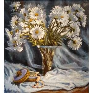 Maria Amélia D'Assumpção - Flores - Óleo sobre tela - Medidas da obra - 53 x 52 cm - Medida com moldura 79 x 78 cm - Assinado