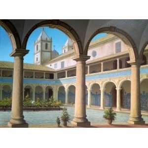 José Lima - Interior de mosteiro - óleo sobre tela - Medidas 61 x 73 cm - Assinado
