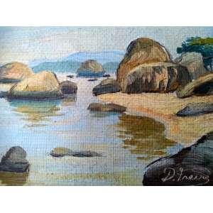 Daniel Freire - Praia de Santa Catarina - óleo sobre eucatex - Medidas 9,5 x 12 cm - assinado no cid
