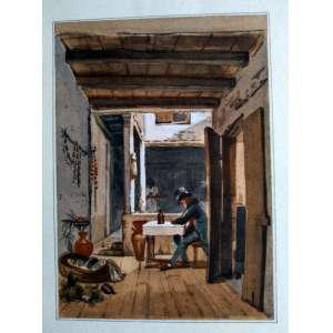 JEAN BAPTISTE DEBRET (1768-1848) - DEBRET A L'AUBERGE - DEBRET AU TRAVAIL - 2 Litogravuras impressas a partir da obra original editada por Firmin Didot Frères de 1834, 1835 e 1839. Organizado por Raimundo Otonni de Castro Maia com as aquarelas de sua coleção. Executadas em Paris sob direção de Marcel Mailot, assim como impressão em papel dArches. Impresso por Robert Rigault, colorido inteiramente executada à mão (au pochoir) nas oficinas de Maurice Beaufume e assistido por Reine Juge. Medidas 58 x 39 cm - PL. 5
