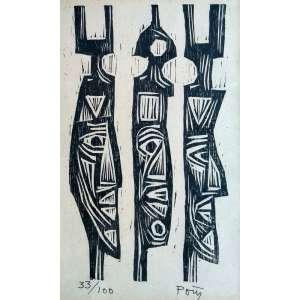 Poty Lazzarotto - Reis Magos - Xilogravura 33/100 - Medidas 22 x 14 cm - Assinada no cid
