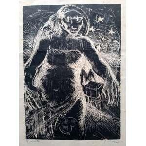 Guido Viaro - A noite - Água forte sobre zinco, impressão planográfica - Medidas 23 x 17 cm - Assinado no cid
