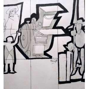 Poty Lazzarotto - Desenho a nanquim - Medidas 32 x 30 cm - Assinado e datado de 1991