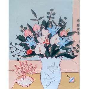 Fang - Vaso de Flores - Gravura PA - Medidas 50 x 40 cm - assinado <br /><br /><br /><br />