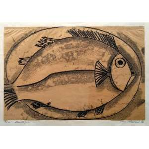 Silvio Pléticos - Peixe - Monotipia - Assinatura Canto inferior direito - 1972 - Medidas 30 x 45 cm