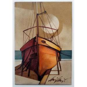 Henri Carrieres - Barcos - Vinil s/ placa - Medidas 32 x 22 cm
