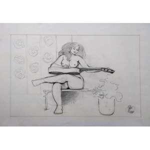 Floriano Teixeira - Grafite - Medidas 25 x 40 cm - acid - 1988 - Ex coleção Wylma Sedys