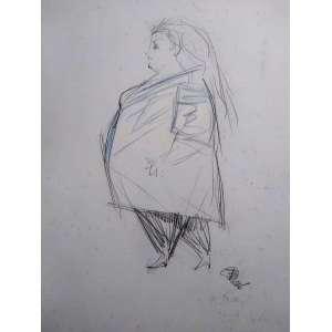 Floriano Teixeira - Grafite (no verso de uma gravura) - Medidas do grafite 35 x 50 cm - Medidas da gravura 70 x 50 cm - acid - 1988 - Ex coleção Wylma Sedys