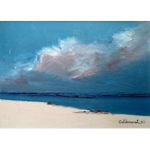 Fernando Calderari - Marinha LVII - óleo sobre tela- Medidas 30 x 40 cm - 1983 - No verso, cache da Galeria Acaiaca
