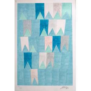 Alfredo Volpi - Bandeirinhas - Litogravura 109/200 - Medidas 33 x 22 cm - assinado no cid - Ex coleção Wylma Sedys