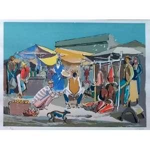 Carybé - Mercado - Gravura com edição PA XV/XV - Medidas 36 x 48 cm - assinada no cid - Ex coleção Wylma Sedys