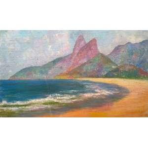 João Baptista Groff - Paisagem iconográfica do Rio de Janeiro - óleo sobre juta - medidas